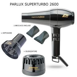 PARLUX SUPERTURBO 2600 1700 WATT PHON PROFESSIONALE CON 2 BECCUCCI DIFFUSORE E SILENZIATORE