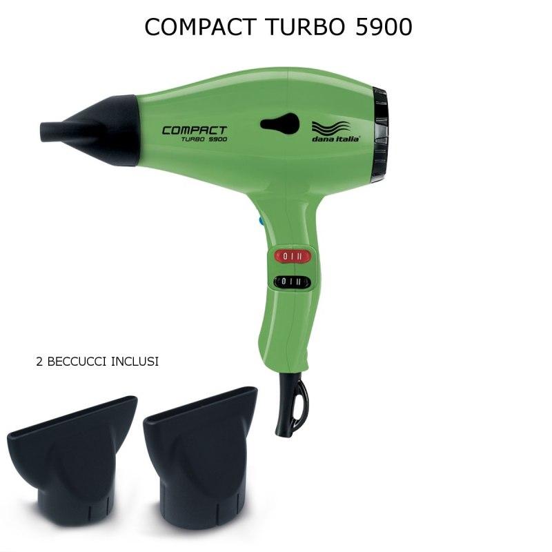 DANA ITALIA COMPACT TURBO 5900 2000 WATT PHON ASCIUGACAPELLI PROFESSIONALE 2 BECCUCCI E DIFFUSORE