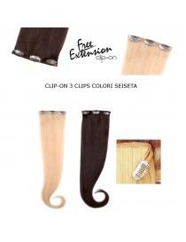 EURO SOCAP SEISETA CLIP ON 3 CLIPS SYSTEM Hair Extensions Line colori seiseta